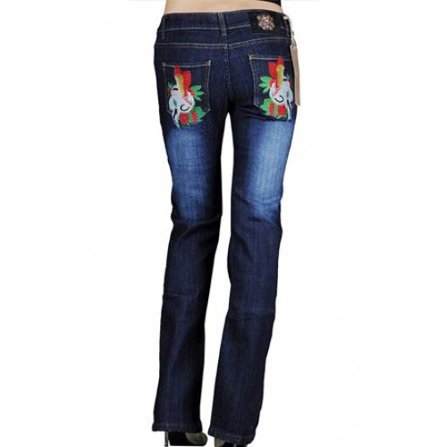 Ed Hardy Womens Jeans Washed straight cut Blue ed hardy outlet