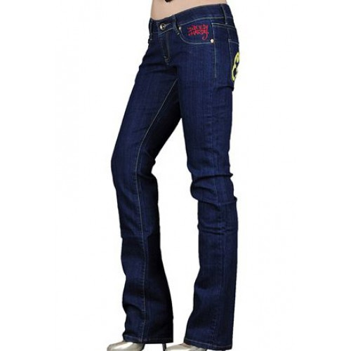 Ed Hardy Womens Jeans Washed straight cut Blue enjoy great discount
