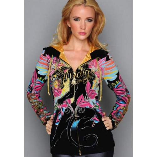 Christian Audigier Monarchy Embroidered Velour Hoody White