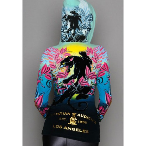 Christian Audigier Monotone Crest And Crown Velour Hoody Pink