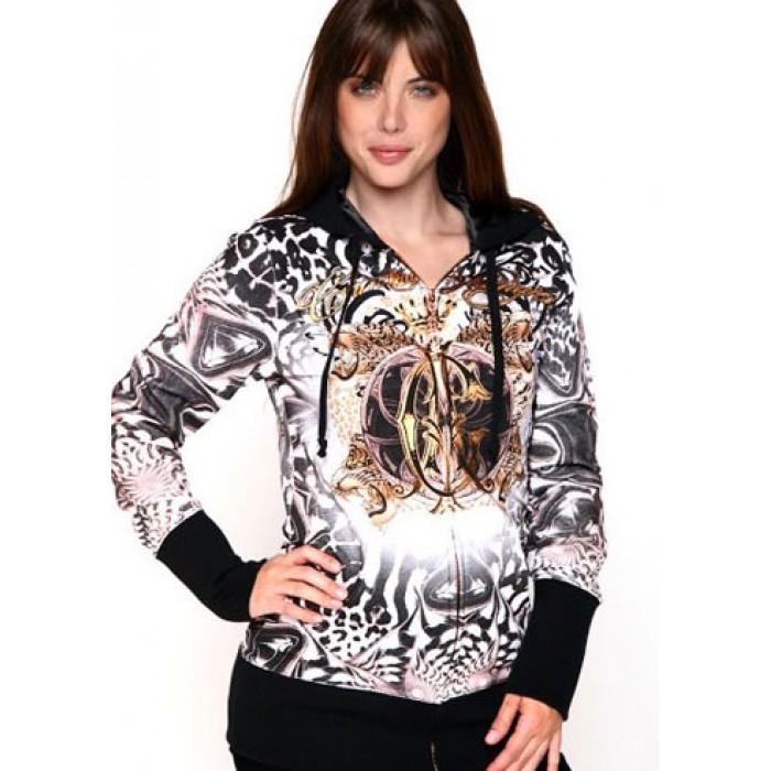 Christian Audigier Wild Leopard Crest And Crown Velour Hoody Black