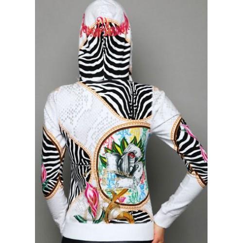 Christian Audigier Zebra Print Platinum Hoody White