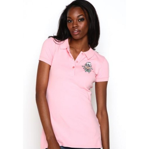 Ed Hardy Womens Skull N Love Basic Embroidered Polo