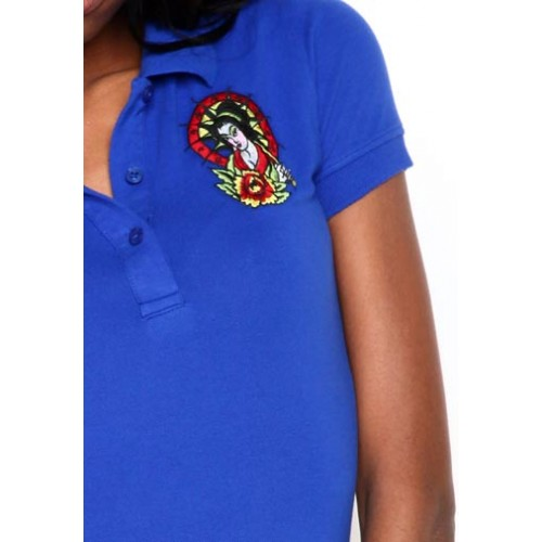 Ed Hardy Womens Geisha Basic Embroidered Polo