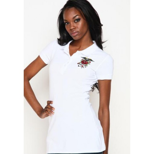 Ed Hardy Womens Anchor Basic Embroidered Polo