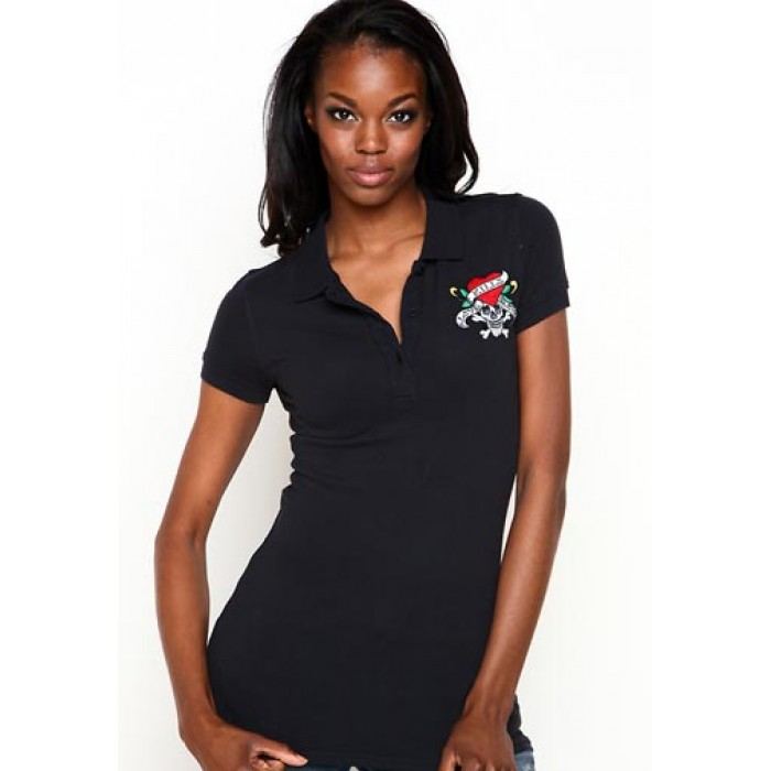 Ed Hardy Womens Love Kills Slowly Basic Embroidered Polo