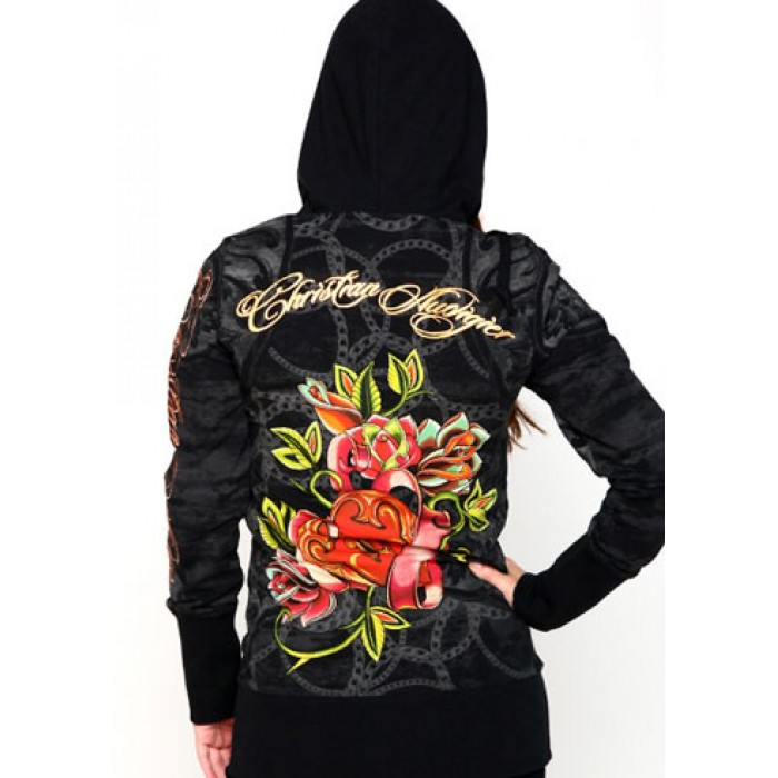 Christian Audigier Crest And Crown Ivy Seal Velour Hoody Black