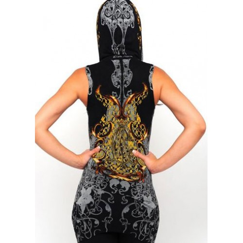 Christian Audigier Hearts And Flowers Foiled Hoody Black
