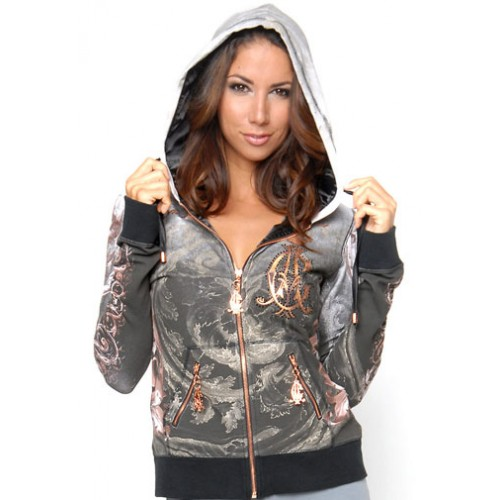 Christian Audigier Lions Shield And Crown Velour Hoody Black