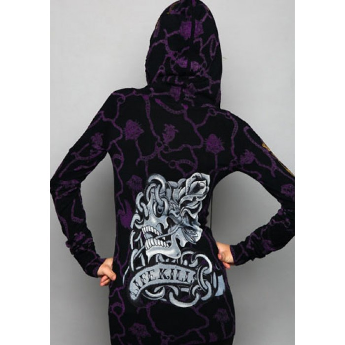 Christian Audigier Lock Your Heart Specialty Tunic Hoody Black