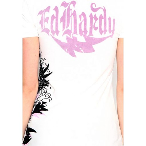 Ed Hardy Womens Skull Rose NYC Platinum Polo