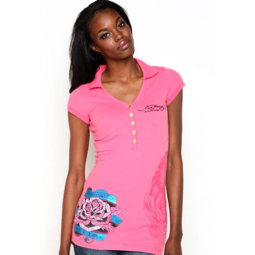 Ed Hardy Womens LKS Dedicated To The One I Love Polo