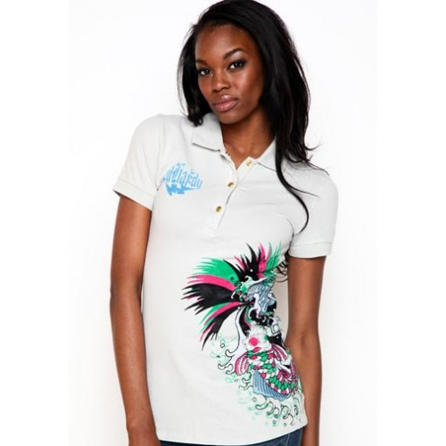 Ed Hardy Womens Koi Rhinestone Embroidered Polo White