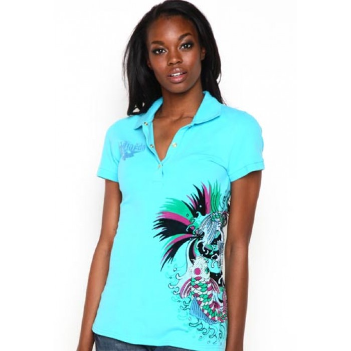 Ed Hardy Womens Koi Rhinestone Embroidered Polo Light Blue